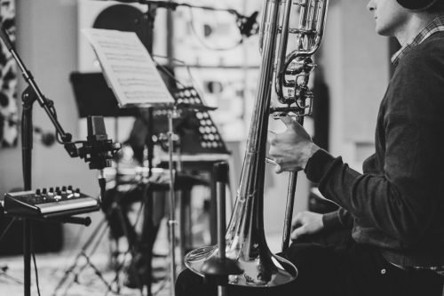 Bass Trombonist prepares for recording in the studio - Recording Session with Ben Mowat - Photography © Jakob op den Brouw